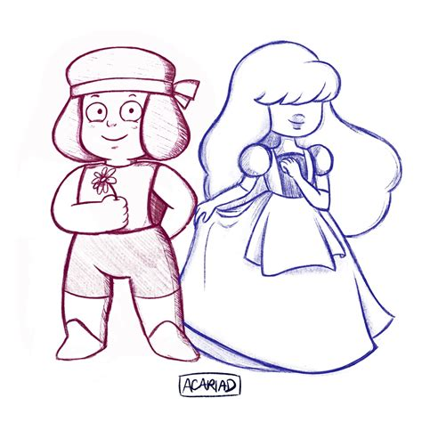 [Drawing all the gems!] Ruby and Sapphire! : stevenuniverse