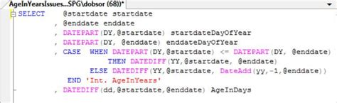 Work around for calculating age using the SQL Server