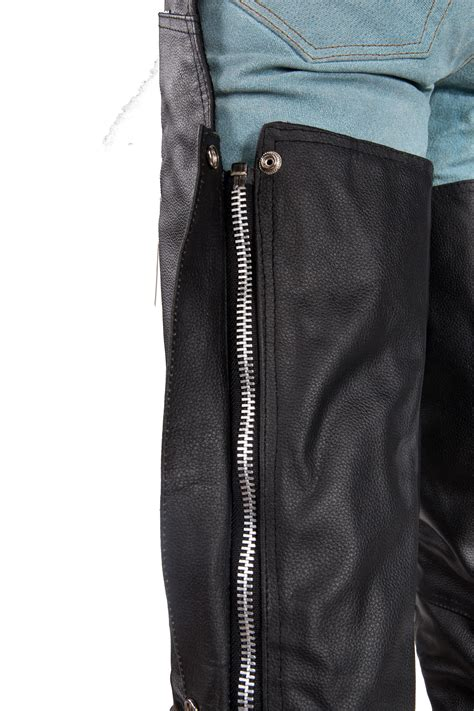 MEN'S MOTORCYCLE BLACK LEATHER RIDING CHAP PANTS BRAIDED