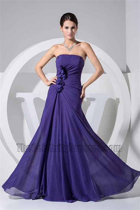 Simple Strapless A-Line Chiffon Prom Gown Evening Formal