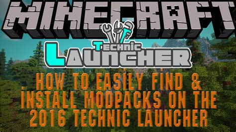 How to install a mod pack on the 2017 technic launcher