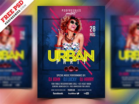 Free PSD : Urban Party Flyer Design PSD by PSD Freebies on