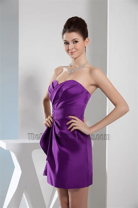 Short Mini Purple Strapless Sweetheart Party Homecoming