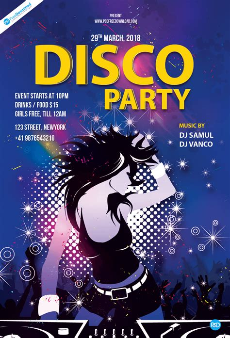 Disco Party Flyer Template     PSD Free Download