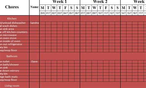 Weekly Cleaning Sheet - My Excel Templates