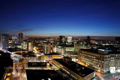 Images of Birmingham Photo Library Night time cityscape of