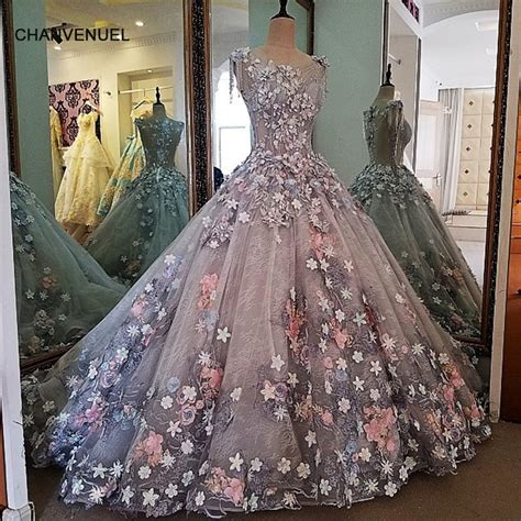 LS00038 evening dress lace 3D flowers ball gown long party
