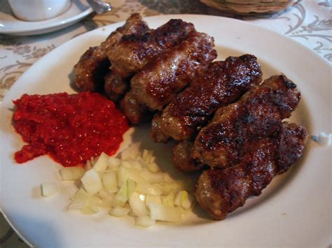 Cevapi with Ajvar and Onions   Little grilled kebabs with